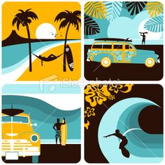 Surf set. Surfer, surfboard, summer, beach, sea, sport, minimil Royalty Free Stock Vector Art Illustration