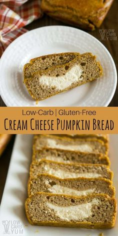A delicious keto low carb cream cheese pumpkin bread. This gluten free bread has a sweet and creamy filling made with cream cheese. It's a fabulous treat.