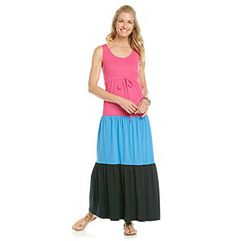 Dresses. Bright and sweet, this tank dress from Chaus features long, maxi length and a tie waist with bold, colorblocked tiers. Featured in vivid pink Scoopneck Sleeveless Pullover style Tie waist Colorblocked Tiered skirt Cotton Imported