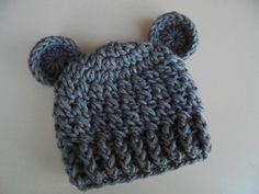 Gray bear hat, newborn bear hat, baby boy hat, teddy bear baby hat, animal baby hat, baby hat with ears, bear baby hat, crochet newborn hat