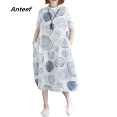 Anteef white cotton linen plus size vintage print clothes women casual  loose long summer dress vestidos 2018 dresses dd7595443b2d