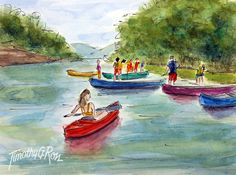 "A Pen and Wash Watercolor Painting by Tim Ross Title: ""Last Hurrah on the Harpeth"" www.timross.com"