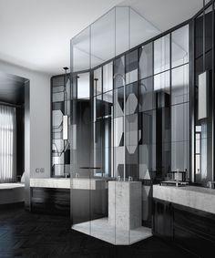 Banheiro inacreditável: mármore, piso de madeira escura, um chuveiro inusitado e muito vidro. Veja mais do projeto clicando na imagem