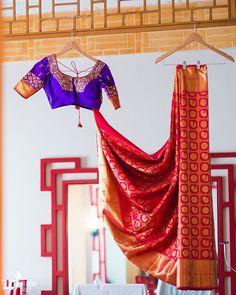 Silk sari with contrast blouse