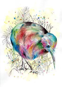 This piece is of our lovely national Kiwi bird. Bird Paintings On Canvas, Bird Canvas, Dot Painting, Slate Art, Kiwi Bird, Nz Art, Kiwiana, Bird Drawings, Watercolor Bird