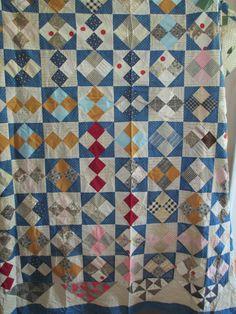 Vintage Quilt Top 4 Patch Indigo Blue Black by AStringorTwo, $58.00