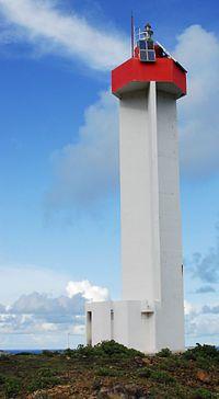 Atlantique - Phare de la Pointe Doublé, à la pointe nord-est de l'Île de La Désirade, Grande-Anse (Guadeloupe) - Coordonnées 16°20′00″N / 61°00′19″O