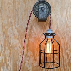 Birdcage Lamp Blk Houndstooth - for the rustic or industrial man cave