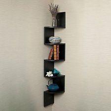 projects idea of corner wall shelving. DanyaB Corner Zig Zag Wall Shelf XF11035 XF11035W Finish Black Large  34 Shelves and Colors