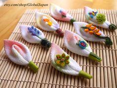 Lindo broche de hojas cada diseño Chirimen en 31 por GlobalJapan