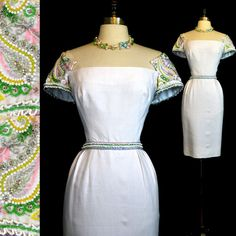 15/% 1950/'s Style Novelty Linen Dress 80/'s Swiss Linen Dress Size M to L ON SALE