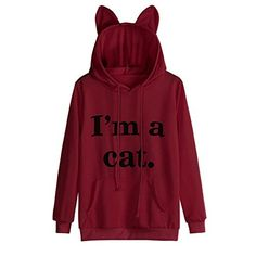 Lelili Women I'm a cat Sweatshirt, Fantastic Letter Printed Long Sleeve Hoodie Pullover Casual Sweatshirt Knitted Boot Cuffs, Knit Boots, Hooded Sweatshirts, Hoodies, Cat Sweatshirt, Zara Fashion, Blouse, Jackets, Pullover