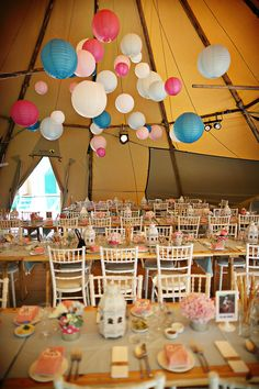 Tipi Wedding / Paper Lanterns / Wedding / Candy Colours / Tipi Decoration / www.stunningtents.co.uk
