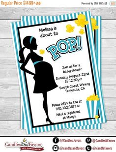 SALE About To Pop Teal - Baby Shower Invitation  - Professionally printed *or* DIY printable PDF
