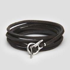 JP clasp rawhide wraparound bracelet