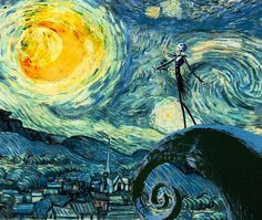 Starry Nightmare Before Christmas, I've got to get my daughter to paint this. She would love it. Stary Night Painting, Vincent Van Gogh, Halloween Town, Halloween Jack, Happy Halloween, Halloween Treats, Beetlejuice, Jack Skellington, Christmas Art