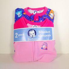 Girls Gerber Blanket Sleepers 2 Pack 18 Months Pink Purple Cats New #Gerber #OnePiece