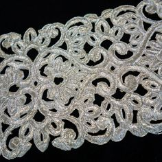 Silver Embroidered Wide Lacey Floral Cutwork by ColourCocoon