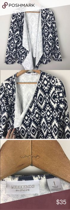 """Chico's   Weekend Draped Aztec Cardigan Pit to pit: 22"""" Length: 26"""" Sleeve: 23""""  Size 1 (listed as a small). Excellent condition! More of a sweatshirt material than sweater. Very comfortable and perfect for weekend days. Dark navy & white.  B7-20 Chico's Sweaters Cardigans"""