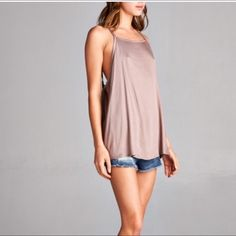 """Mocha Boho Tank Loose fit boho tank. Mocha color. This listing is for LARGE. There are another listing for S and M. Model is 5.1"""" and wearing S. 97% rayon, 3%spandex April Spirit Tops Tank Tops"""