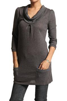 TheMogan Cowl-neck Knit Sweater Tunic 3/4 Sleeve Top