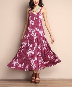 This Berry Floral Sweetheart Maxi Dress is perfect! #zulilyfinds