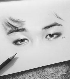Jimin's eyes. Jimin Fanart, Kpop Fanart, Kpop Drawings, Pencil Art Drawings, Drawing Sketches, Bts Jimin, Bts Eyes, Eye Sketch, Korean Art
