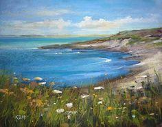 IRELAND Seascape Blue Sea with Wildflowers Original Pastel