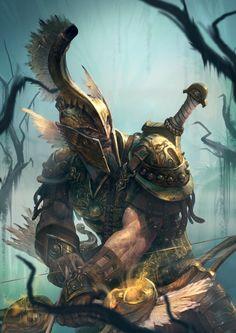 Eurytos - Artwork by Stéphane Gantiez High Fantasy, Fantasy Rpg, Medieval Fantasy, Dark Fantasy Art, Fantasy Artwork, Fantasy Warrior, Greek Warrior, Armadura Viking, Fantasy Inspiration