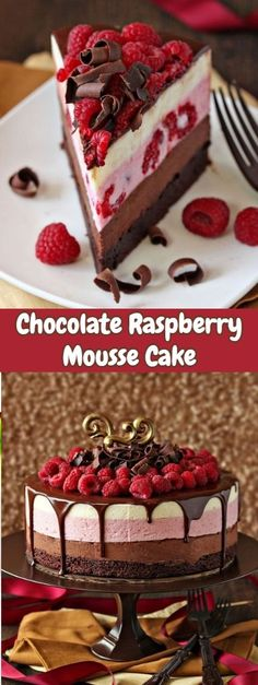 This stunning Chocolate Raspberry Mousse Cake has a moist, fudgy brownie base, three layers of light Chocolate Raspberry Mousse Cake, Chocolate And Vanilla Cake, Raspberry Desserts, Chocolate Recipes, Chocolate Curls, Vanilla Mousse Cake Filling Recipe, Rasberry Mousse, Raspberry Cake Filling, Chocolate Cheesecake