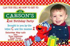 20 Elmo Sesame Street Birthday Invitations PRINTED  20 or More Birthday Party invites (includes envelopes) Elmo invitations
