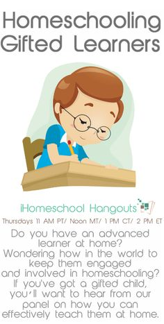 Homeschooling Gifted students @iHomeschool Network Check it out and if you miss it, you can still catch it later!