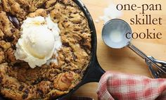 remake of Cheddar's cookie monster skillet cookie recipe - made it exactly as described, easy, and delicious. added a homemade hot fudge recipe and it was almost too chocolate-y, which I never say, sooo it's awesome :)
