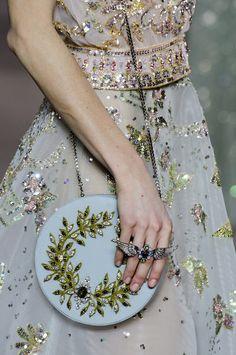 printemps feeric   georges hobeika spring 20I8 couture detail floral broderie embroidery dress bag