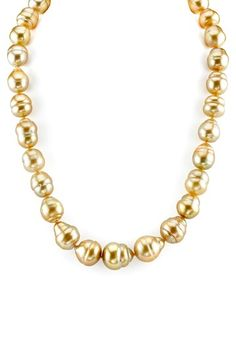 14K Yellow Gold 10-13mm Golden South Sea Circle Baroque Pearl Necklace