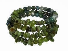 Green Garnet, Moss Agate, Green Forest Jasper, and Green Pyrite Memory Wire Bracelet #bcg254