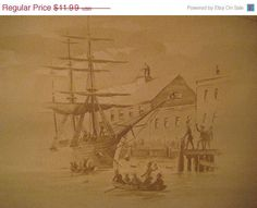 Vintage Wallpaper 2 yards Boston Tea Party by StarPower99 on Etsy, $5.99