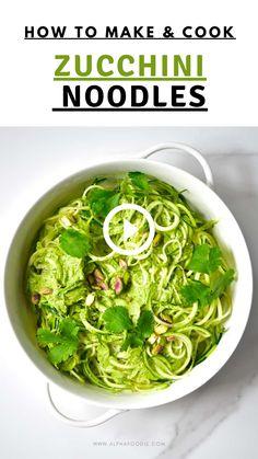 Vegan Recipes Videos, Raw Vegan Recipes, Easy Healthy Recipes, Healthy Cooking, Vegetarian Recipes, Veggie Noodles, Zucchini Noodles, Courgetti Recipe, Pistachio Pesto