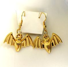 Halloween Earrings Bat EarringsGold Plated by LadyLiJewellery