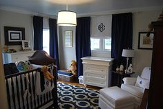 Nursery Notations: Real Rooms - Fabulous Fete Nursery Navy and White- Barrett's room