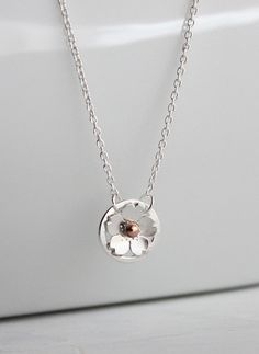 Dainty Cherry Blossom Pendant for bridesmaid, bridal party, mother of the bride, bridal accessories, bridal jewelry, Spring weddings 2015