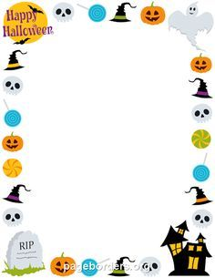 Printable Happy Halloween border. Use the border in Microsoft Word or other programs for creating flyers, invitations, and other printables. Free GIF, JPG, PDF, and PNG downloads at http://pageborders.org/download/happy-halloween-border/