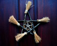 home decor edit Magic witchcraft pentagram occult pagan wicca brooms wreath Hex besom darkhexenmagick witches brooms besom decor Witch Broom, Pagan Witch, Broom Corn, Pagan Decor, Samhain Decorations, Wiccan Crafts, Kitchen Witch, Pentacle, Book Of Shadows