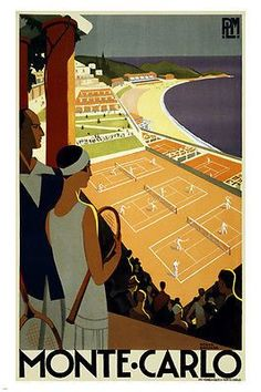 monte carlo vintage travel poster 24X36 TENNIS TOURNAMENT sports UNIQUE