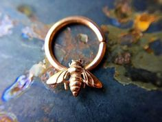 Rose Gold Bee Septum Ring by DinanRings on Etsy