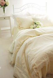 Shabby and Elegant Light Yellow Elegant Lace Duvet Cover Bedding Set, Queen size