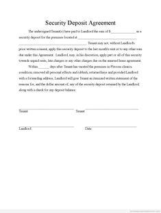 Sample Printable Security Deposit Agreement Form Http Gtldworldcongress Al