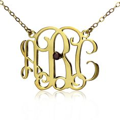Initial Monogram Necklace Gold With One Birthstone