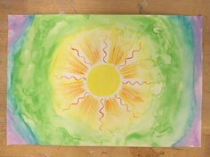 This sunshine-emanating watercolor was a very therapeutic, relaxing, and feeling-full piece to create. I painted it outside and was inspired by the sun, atmosphere, and weather around me. Needless to say, it was a very nice day. I felt happy, warm, colorful, and genuinely creative. I fully channeled these feelings into my painting. I began with the sun in the center and created a rainbow affect to illustrate the colors created by light. I enjoy the imperfections of this piece created by…