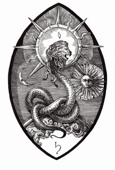 lion snake sun b/w